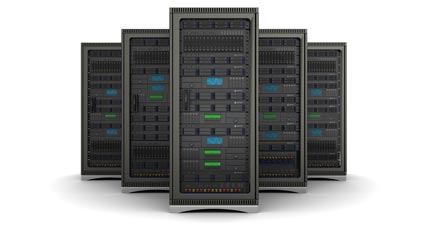 Five server racks in a white room