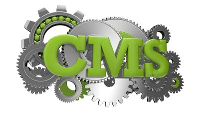 The letters CMS overlaid over interlocking gears